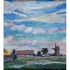 Henryk Szczygliński (1881-1944), Pejzaż z wiatrakiem, 1935