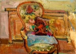 Zygmunt Schreter (1886-1977), Kwiaty na krześle