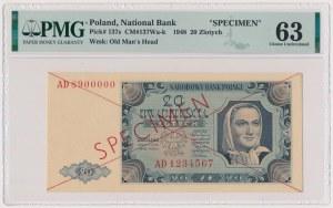 20 złotych 1948 - SPECIMEN - AD