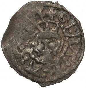 Litwa, Olgierd (Algirdas) Giedymowicz (1345-1377), Denar - głowa / heksagram - UNIKAT