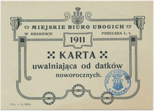 Biuro ubogich - karta uwalniająca od datków noworocznych - Kraków 1911