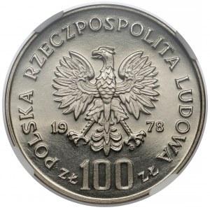 Próba NIKIEL 100 złotych 1978 Adam Mickiewicz - bez loczka