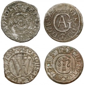 Zygmunt III, Gustaw, Fryderyk i Krystyna, Szelągi 1600-1652 (4szt)