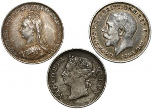 Wielka Brytania i Hong-Kong, 3 pensy i 5 centów 1888-1916 (3szt)