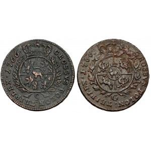 Poniatowski, Trojaki 1766 g i G - zbrojarz i głowa (2szt)