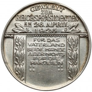 Niemcy, Medal Hindenburg - wybór na prezydenta 1925