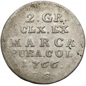 Poniatowski, Półzłotek 1766 FS - 7 listków - krótkie gałązki