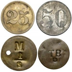Żetony zastępcze / Werthmarki, zestaw, w tym Francja ~1779 (4szt)