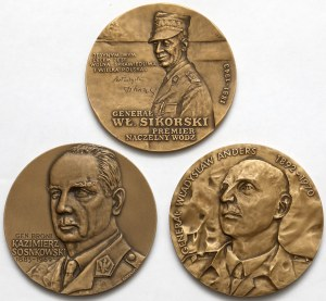 Generałowie - Medale Sikorski, Sosnowski i Anders (3szt)