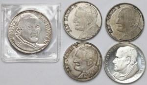 Jan Paweł II, medale w tym SREBRO, zestaw (5szt)