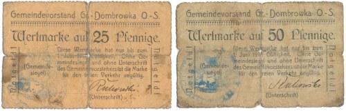 Gross Dombrowka (Dąbrówka Wielka), 25 i 50 pfennige 1917 (2szt)