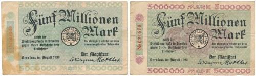 Breslau (Wrocław), 5 mln mk 1923 - różne odmiany (2szt)