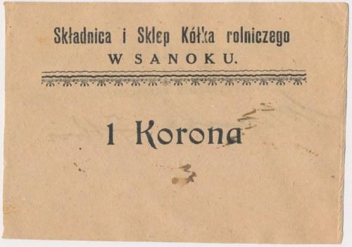 Sanok, Składnica i Sklep Kółka rolniczego, 1 korona (1919)