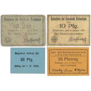 Birkenhain (Brzeziny Śląskie), Tichau (Tychy), Sohrau (Żory), 10 i 50 pfg 1917-1920 (4szt)