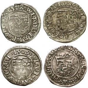 Węgry, Denar 1506-1509 Kremnica, zestaw (4szt)