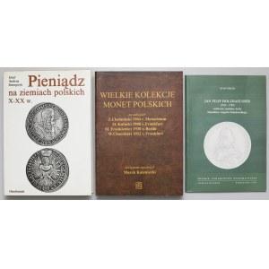 Wielkie kolekcje monet polskich, medalier Poniatowskiego, Pieniądz na ziemiach polskich (3szt)