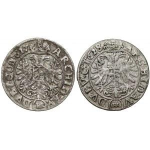 Śląsk, Ferdynand II, 3 krajcary 1627 i 1628 HR, Wrocław (2szt)