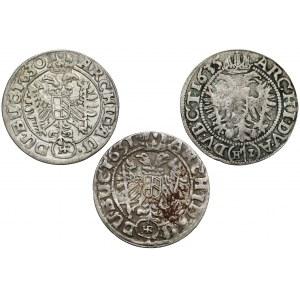 Śląsk, Ferdynand II, 3 krajcary 1630, 1631 i 1635, Wrocław (3szt)