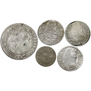 Śląsk, Chrystian wołowski, 1-15 krajcarów 1662-69, zestaw (5szt)