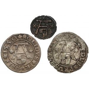 Prusy, Albrecht Hohenzollern, Denar i szelągi Królewiec 1550-1559 (3szt)