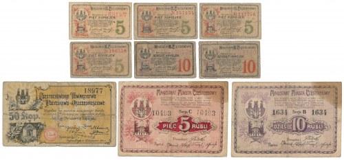 Częstochowa, 5 kopiejek - 10 rubli 1916 (9szt)