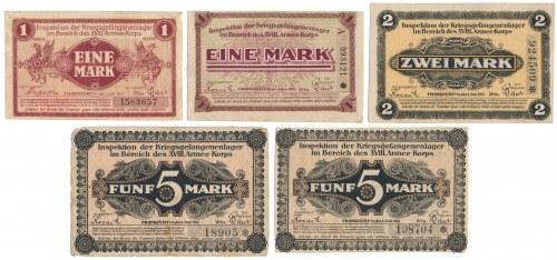 Niemcy, Obóz jeniecki Frankfurt a.M., 1 - 5 mk 1917 (5szt)