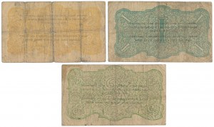 Częstochowa, Tow. Poż.-Oszczędnościowe, 50 kop, 1 i 3 rub 1916 (3szt)