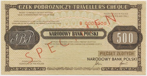 Czek podróżniczy NBP na 500 zł - SPECIMEN