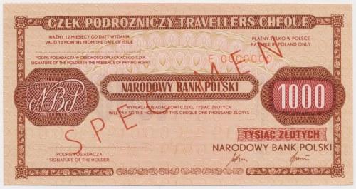 Czek podróżniczy NBP na 1.000 zł - SPECIMEN