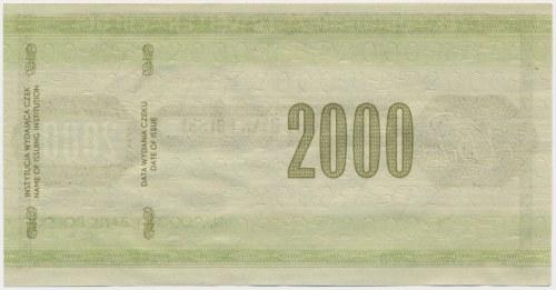 Czek podróżniczy NBP na 2.000 zł - SPECIMEN