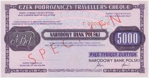 Czek podróżniczy NBP na 5.000 zł - SPECIMEN