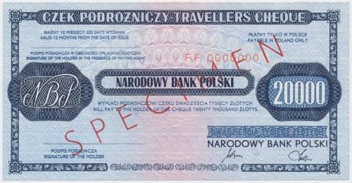 Czek podróżniczy NBP na 20.000 zł - SPECIMEN