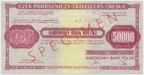Czek podróżniczy NBP na 50.000 zł - SPECIMEN