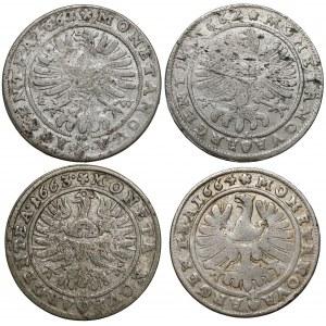 Śląsk, Jerzy III i Chrystian, 15 krajcarów 1661-1664 (4szt)