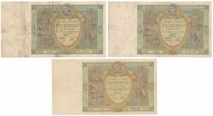 2x 50 złotych 1925 i 50 złotych 1929 - zestaw (3szt)