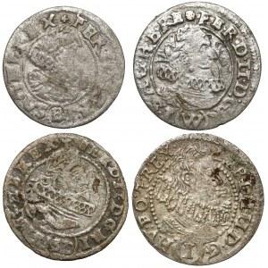 Śląsk, Ferdynand II i III, 1 krajcar 1624-1631, Racibórz, Wrocław... (4szt)