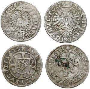 Śląsk, Ferdynand II, 1 krajcar 1624-1631, Wrocław, Kłodzko... - zestaw (4szt)
