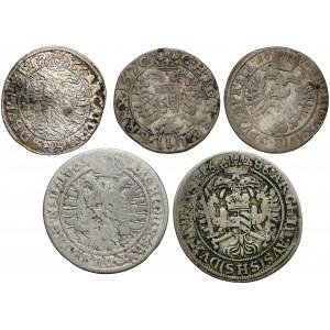 Śląsk, Leopold I, 3 i 6 krajcarów 1665-98, zestaw (5szt)