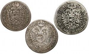 Śląsk, Leopold I, 6 i 15 krajcarów 1673-1694 - zestaw (3szt)