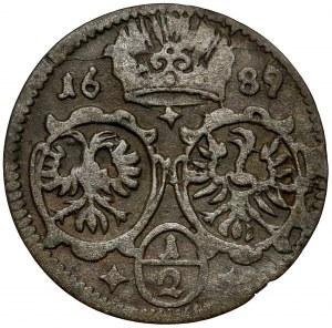Śląsk, Leopold I, 1/2 krajcara 1689, Opole (jednostronne)