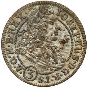 Śląsk, Józef I, 3 krajcary 1706 FN, Wrocław
