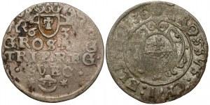Gustaw II Adolf, Grosz 1630 i Trojak 1632, Elbląg - zestaw (2szt)
