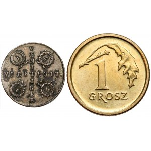 August II Mocny, malutki medalik 1699 - VENIT VIDET... - GALWAN
