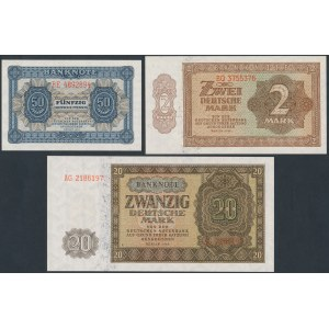 Niemcy, DDR 50 pfg, 2 i 20 mk 1948 (3szt)