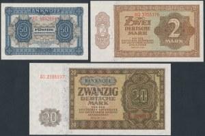 Germany, DDR 50 pfg, 2 and 20 mk 1948 (3pcs)