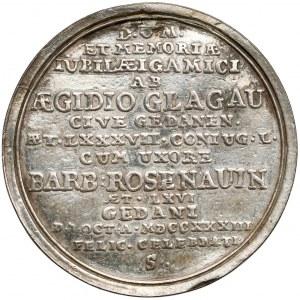 Gdańsk, Medal jubileusz zaślubin Algidiusa Glagau 1733 - słaby stan - b.rzadki