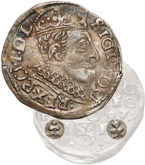 Zygmunt III Waza, Trojak Wschowa 1597 - znaki ZAMIENIONE miejscami - rzadki