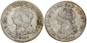 Włochy, Księstwo Sabaudii-Piemontu, Karol Emanuel III, 1/4 scudo 1766 i 1775 (2 szt)