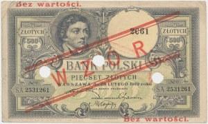 500 złotych 1919 - WZÓR - niski nadruk i perforacja