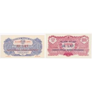 50 i 100 złotych 1944 ...owe - nadruk SPECIMEN / 25 lat NBP